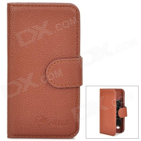 Alis Protective PU Leather Case w/ Card Holder Slots for Samsung Galaxy S4 Mini - Brown protective pu leather case w card holder for samsung galaxy s4 i9500 brown