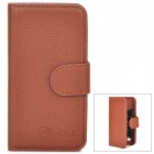 Alis Protective PU Leather Case w/ Card Holder Slots for Samsung Galaxy S4 Mini - Brown