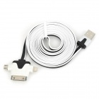 USB zu 30-Pin / 8-Pin Blitz / Micro USB Data / Laden Flachkabel - White + Black (2m)