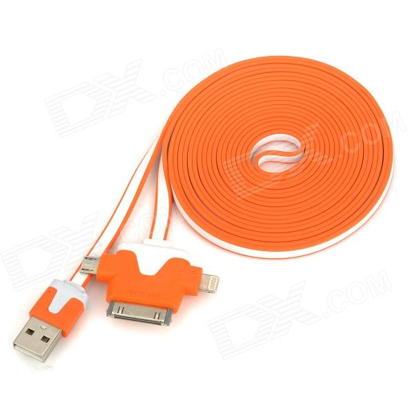 USB to 30-Pin / 8-Pin Lightning / Micro USB Data / Charging Flat Cable - Orange + White (3m)