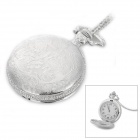 Dragon Pattern Flip-Open Zinc Alloy Quartz Pocket Watch - Silver (1 x LR626)