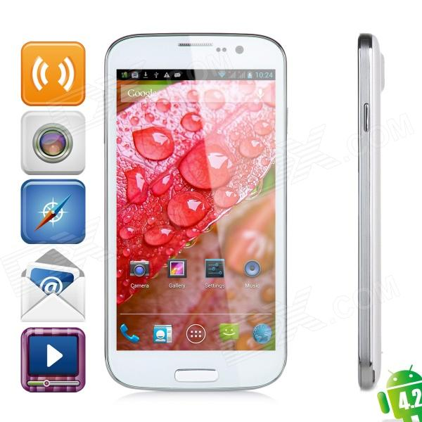 POMP W88 Quad-Core Android 4.2 WCDMA Bar Phone w/ 5.0″ HD IPS, Wi-Fi and GPS – White