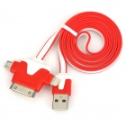 USB 2.0 Male to 30-Pin / Lightning 8-Pin / Micro USB Male Flat Data Charging Cable - Red