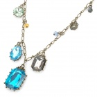 Stylish Zinc Alloy Chain w/ Crystals Pendant Necklace for Women - Bronze + BLue