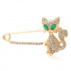 Cat w/ Crystal Eyes Style Zinc Alloy + Rhinestones Decorative Clothes Brooch - Silver + Green
