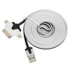 USB zu 30-Pin / 8-Pin Blitz / Micro USB Data / Laden Flachkabel - White + Black (3m)