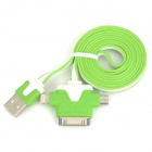 USB 2.0 Male to 30-Pin / Lightning 8-Pin / Micro USB Male Data Charging Flat Cable - Green