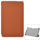 Stylish Flip-open Protective PU + PC Case w/ Holder for Samsung 500T1C-A01 - Brown
