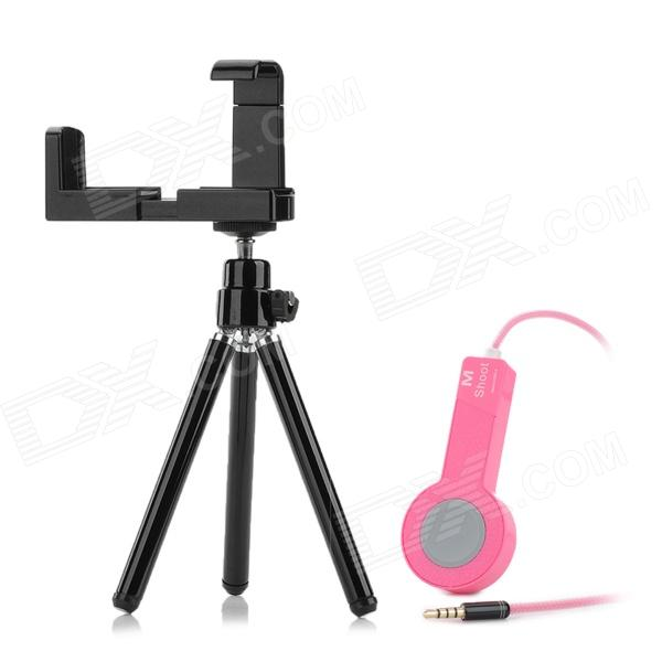 Plastic + Aluminum Alloy Camera Shutter Control + TrIpod for Iphone 5 / Ipad 2 + More - Pink + Black