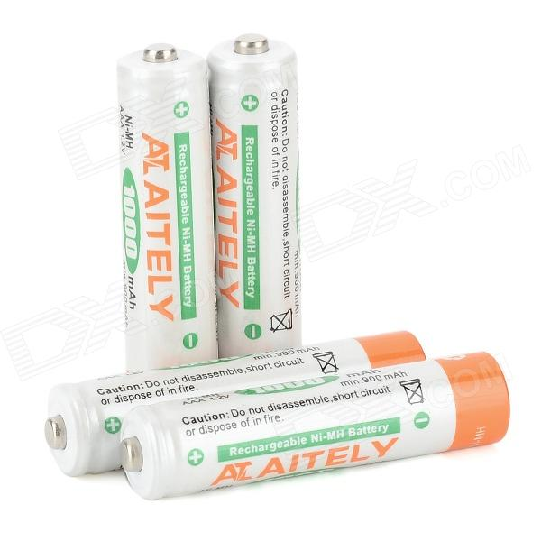 1000mAh Rechargeable NiMH AAA Battery - White + Orange (4 PCS) 8pcs pkcell battery aaa pre charged nimh 1 2v 1200mah ni mh 3a rechargeable batteries up to 1000mah capacity cycle 1200times