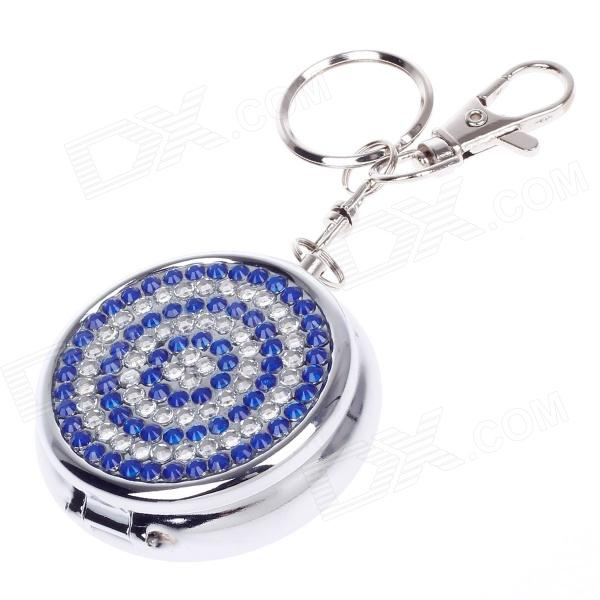 Portable Shining Rhinestone Stainless Steel Spring Lid Ashtray w/ Keyring - Silver + Blue от DX.com INT