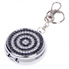 Portable Shining Rhinestone Stainless Steel Spring Lid Ashtray w/ Keyring - Silver + Black