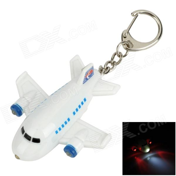 Cartoon Airplane Style Red & White Light LED Keychain w/ Sound Effect - White + Blue (3 x LR1130)