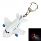 Cartoon Airplane Design Red & White Light LED Schlüsselanhänger w / Sound Effect - Weiß + Blau (3 x LR1130)
