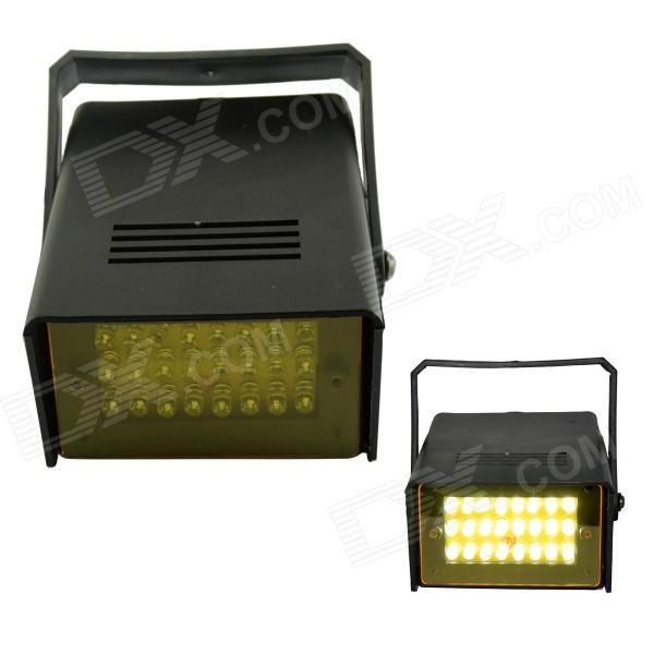 XL-16Y 5W 595nm 24-LED Yellow Flash Party Disco Mini Strobe Stage Light - Black (90~240V)