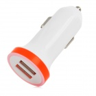 Dual USB Car Cigarette Powered Charger for Iphone + Ipad + Ipod - White + Orange (12~24V)