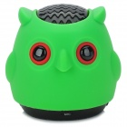 A-100 Owl Style 2-Channel Bluetooth v2.1 Speaker w/ Microphone / FM / TF - Green + Black + Red