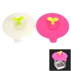 Anti Dust Soft Silicone Cup Cover Lid - Deep Pink + Translucent (2 PCS)