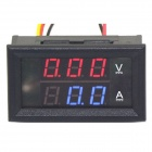 2-in-1 Blue + Red LED 0-100V / 2A DC Digital Ammeter Voltmeter - Black (DC 12V)