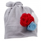 Cute Flower Style Soft Cotton Baby Hat Cap - Grey