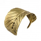 eQute Zinc Alloy Arched Leaf Cuff Bracelet - Antique Brass