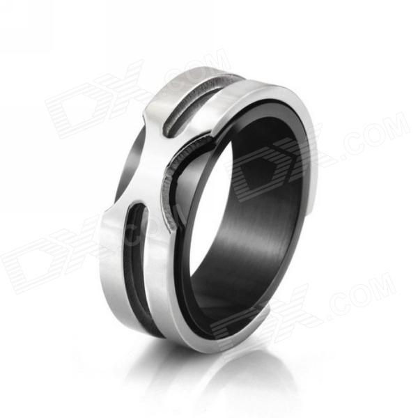 eQute RSSM35C2S8 Fashionable 316L Titanium Steel X Metal Ring - Black + Silver (USA Size-8) yongheng sl 01 men s 2 in 1 type rotatable titanium steel ring silver