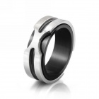 eQute RSSM35C2S8 Fashionable 316L Titanium Steel X Metal Ring - Black + Silver (USA Size-8)