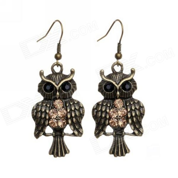 eQute EPEW10C99 Gallant Rhinestone Encrusted Owl Earrings - Antique Brass + Black + Brown (Pair) stylish zinc alloy earrings white golden pair