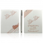 ENKAY Double Heart Pattern Protective PU Leather Smart Case for Ipad 2 / 4 / the New Ipad - White