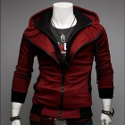 Fashionable Hooded Hitting Scene Leisure Slim fit Hooded Cardigan - Red + Black (Size-L)