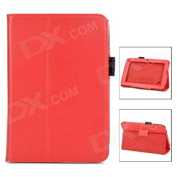 Lychee Grain Protective PU Leather Case for Acer B1-A71 - Red ultra slim litchi grain 2 folder folio stand protective skin pu leather cover case for acer iconia one 7 b1 770 b1 770 7 tablet