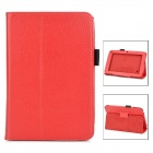 Lychee Grain Protective PU Leather Case for Acer B1-A71 - Red