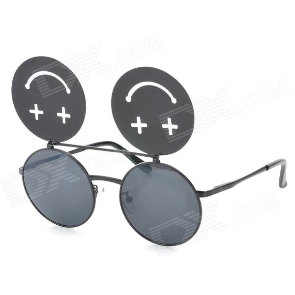 Smiling Face Flip-open UV400 Protection Resin Lens Sunglasses - Black clip on uv400 protection resin lens attachment sunglasses small