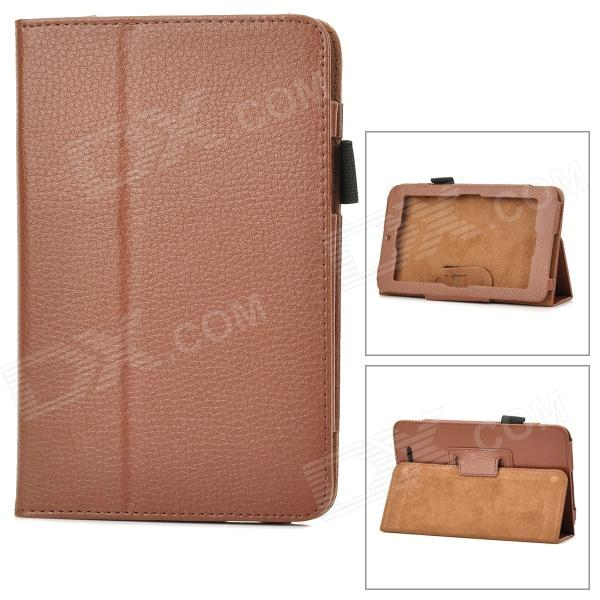 Lychee Grain Protective PU Leather Case for Asus ME172V - Brown