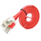 USB to 8-Pin Lightning Data/Charging Flat Cable w/ RGB Indicator Light for iPhone 5 - Red