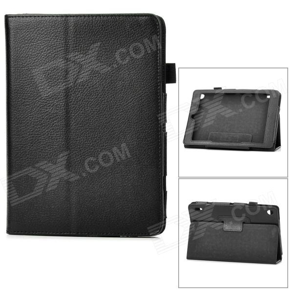 Lychee Grain Protective PU Leather Case for Acer A1-810 - Black