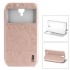 USAMS PU Leather Case w/ Transparent Window for Samsung Galaxy Mega 6.3 i9208 - Champagne Pink