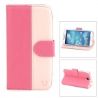 USAMS S4TY04 Protective PU Leather Case for Samsung Galaxy S4 / i9500 - Deep Pink + Light Pink