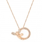Madou Princess Zinc Alloy Rhinestone Necklace for Women - Golden