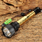 UniqueFire UF-V2 3 x Cree XM-L2 T6 1800lm 5-Mode Memory White Flashlight - Golden + Black