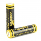 LusteFire 18650 2700mAh  3.7V Rechargeable Li-ion Battery for Flashlight - Black + Yellow (2 PCS)
