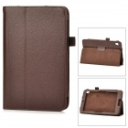 Lychee Grain Protective PU Leather Case for Acer W3 - Brown