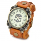 JINGYI PU Leather Band Analog Quartz Wrist Watch for Women - Orange + Bronze