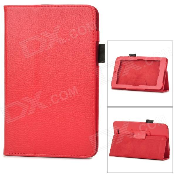 Lychee Grain Protective PU Leather Case for Asus ME172V - Red
