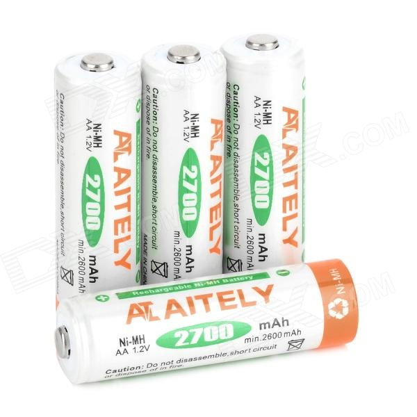 2700mAh Rechargeable NiMH AA Battery - White + Orange + Green (4 PCS)