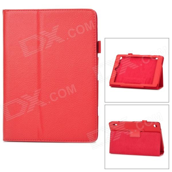 Lychee Grain Protective PU Leather Case for Acer A1-810 - Red