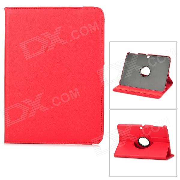 360 Degree Rotation Protective PU Leather Case for Samsung P5200 - Red levett caesar prostate massager for 360 degree rotation g spot