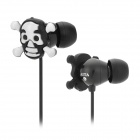 Stylish Skull Head Style In-Ear Earphone w/ Replacement Earbuds - Black + White (Length-123CM)