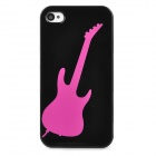 Guitar Style Protective Plastic Back Case for Iphone 4 / 4S - Black + Deep Pink