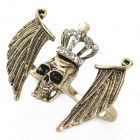 Crown Skull Wings Style Double-sormi rengas - Bronze